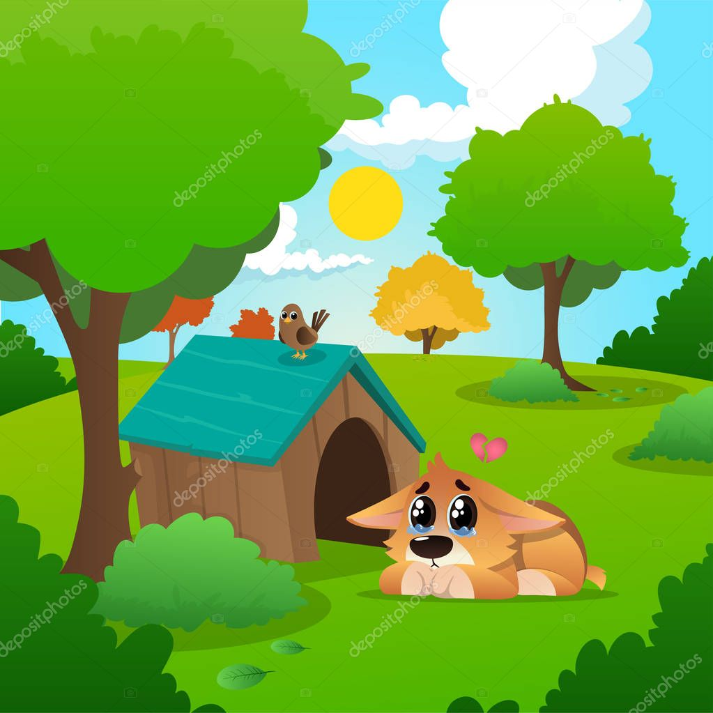 Lonely corgi with tears on eyes lies near wooden house. Summer nature landscape with blue sky, white clouds, grass, trees and bushes with green foliages. Flat vector