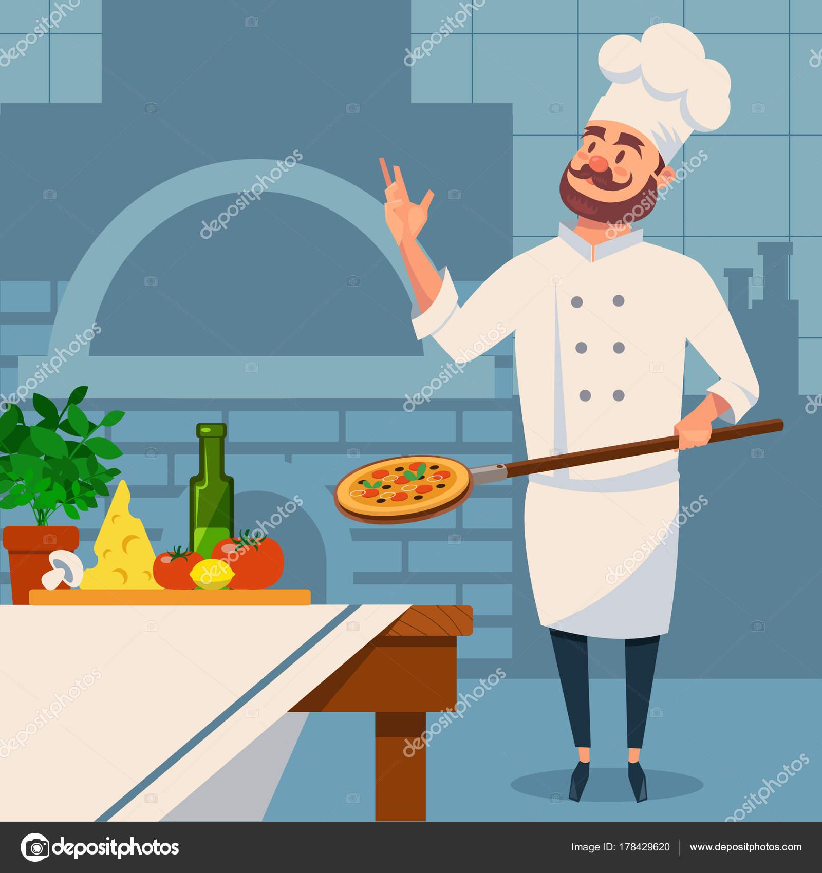 Barbudo a italiano chef en uniforme con pizza en paleta. Interior de ...