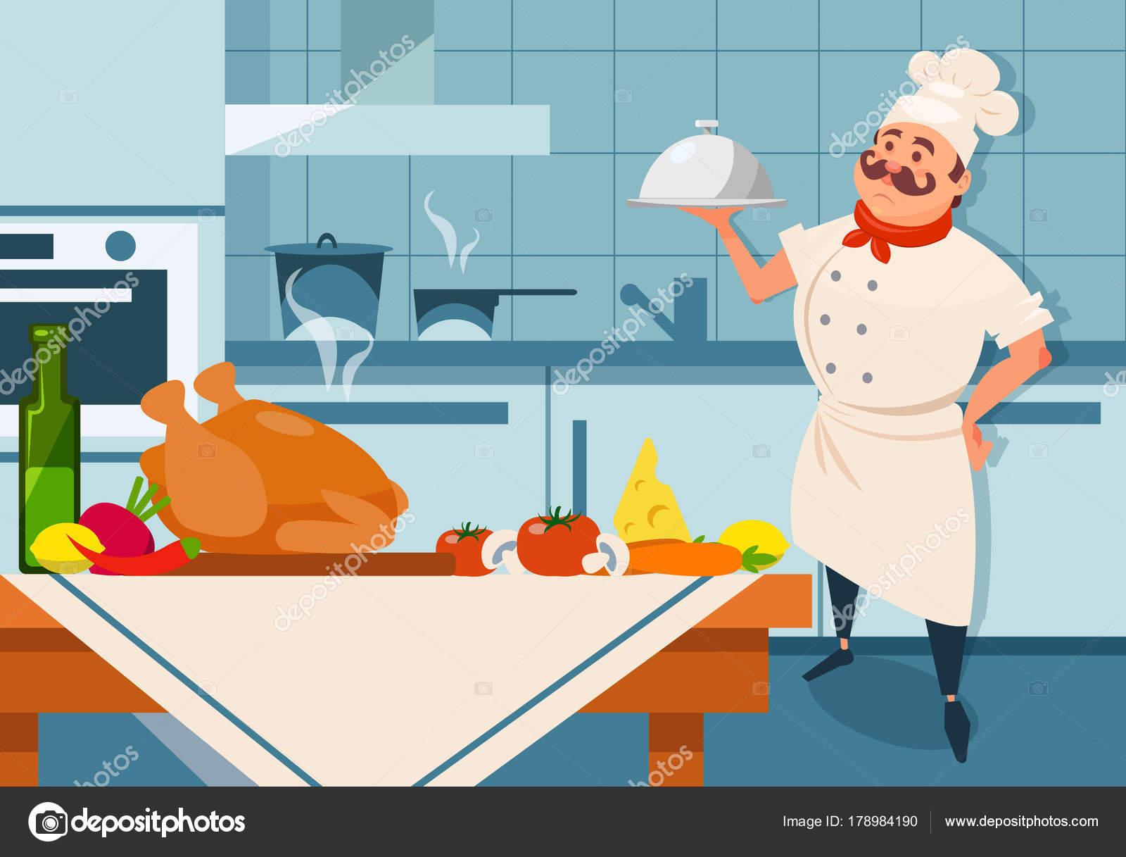 Dibujos animados de plato de plata de explotación de carácter chef ...