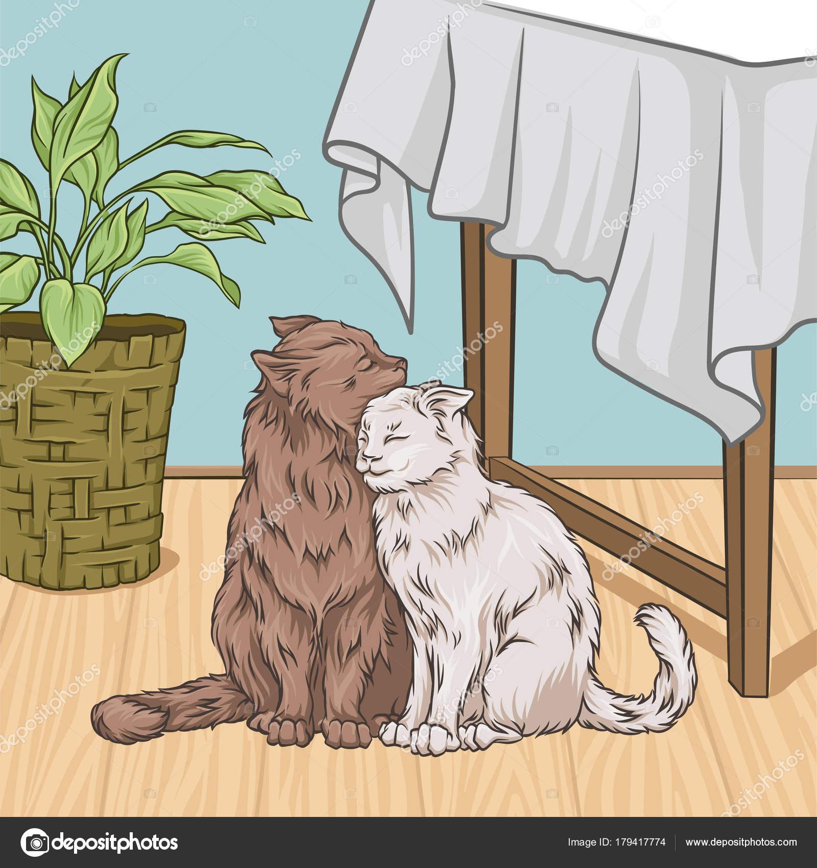 Niedliche Katzen sitzen neben einem Tisch umarmt, Raum innen Vintage ...