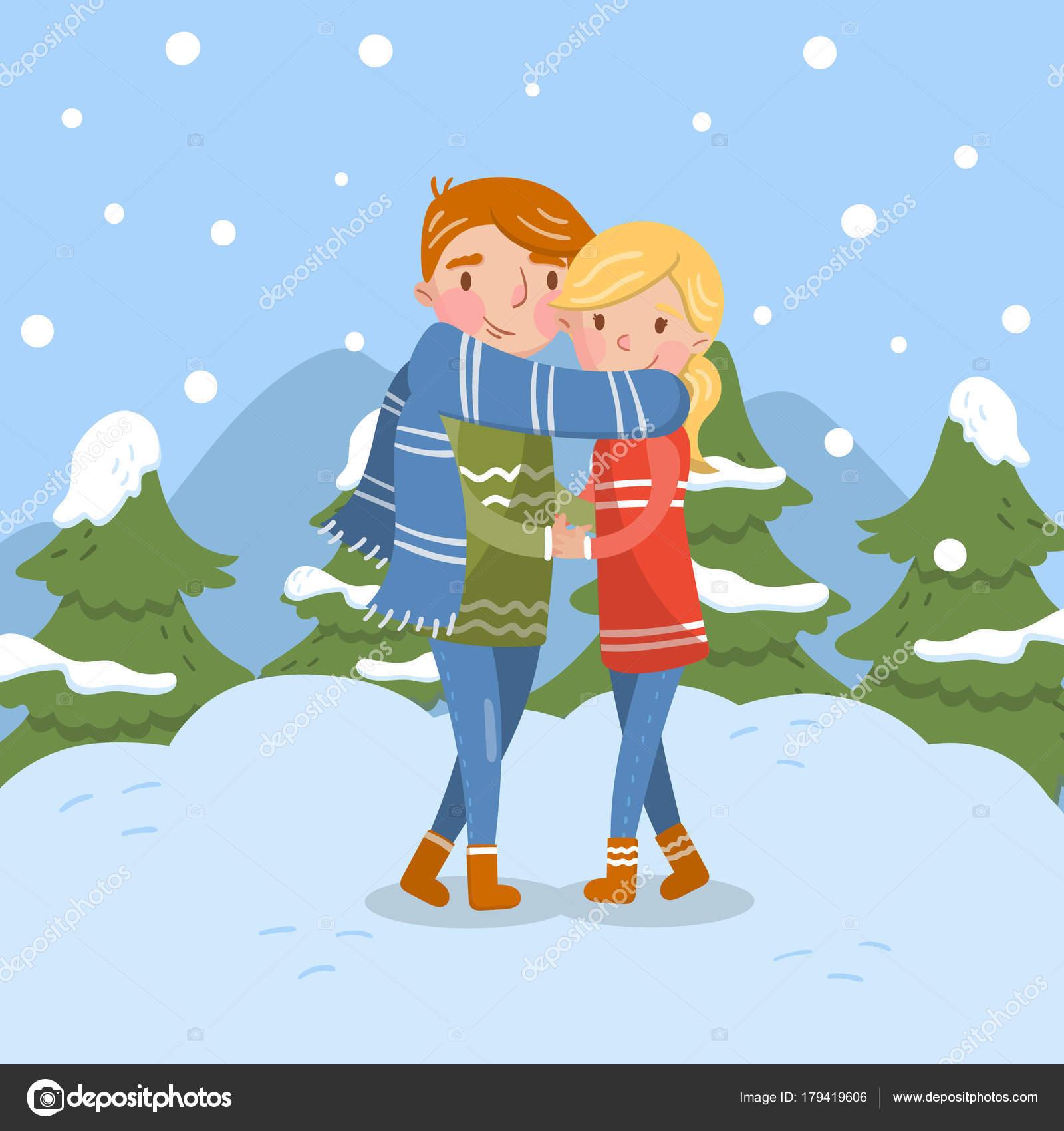 愛の幸せなカップルは、冬のシーズンでロマンチックな男性と女性の文字
