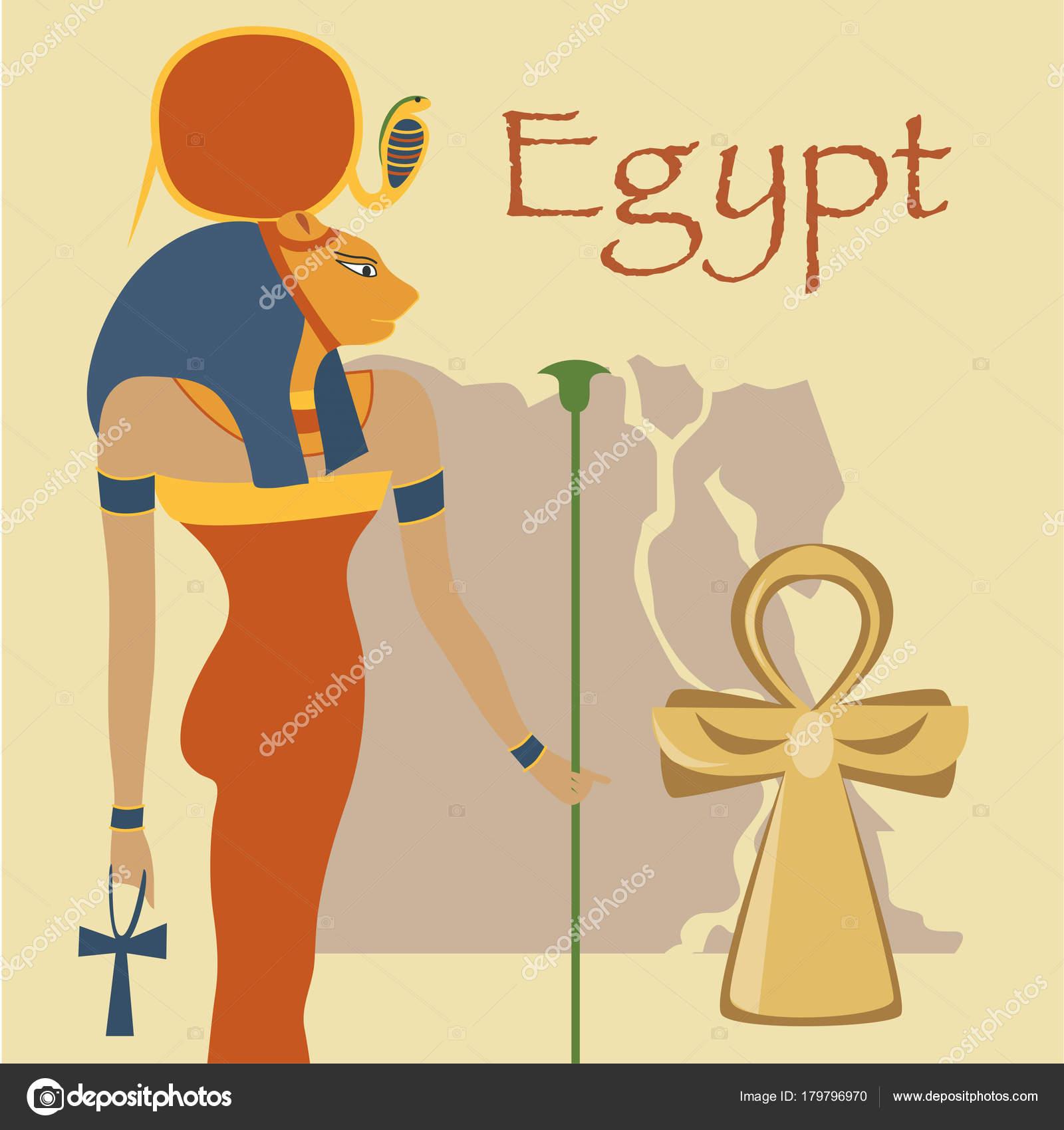 egito a deusa hathor e a ankh cruz símbolos de ilustração vetorial