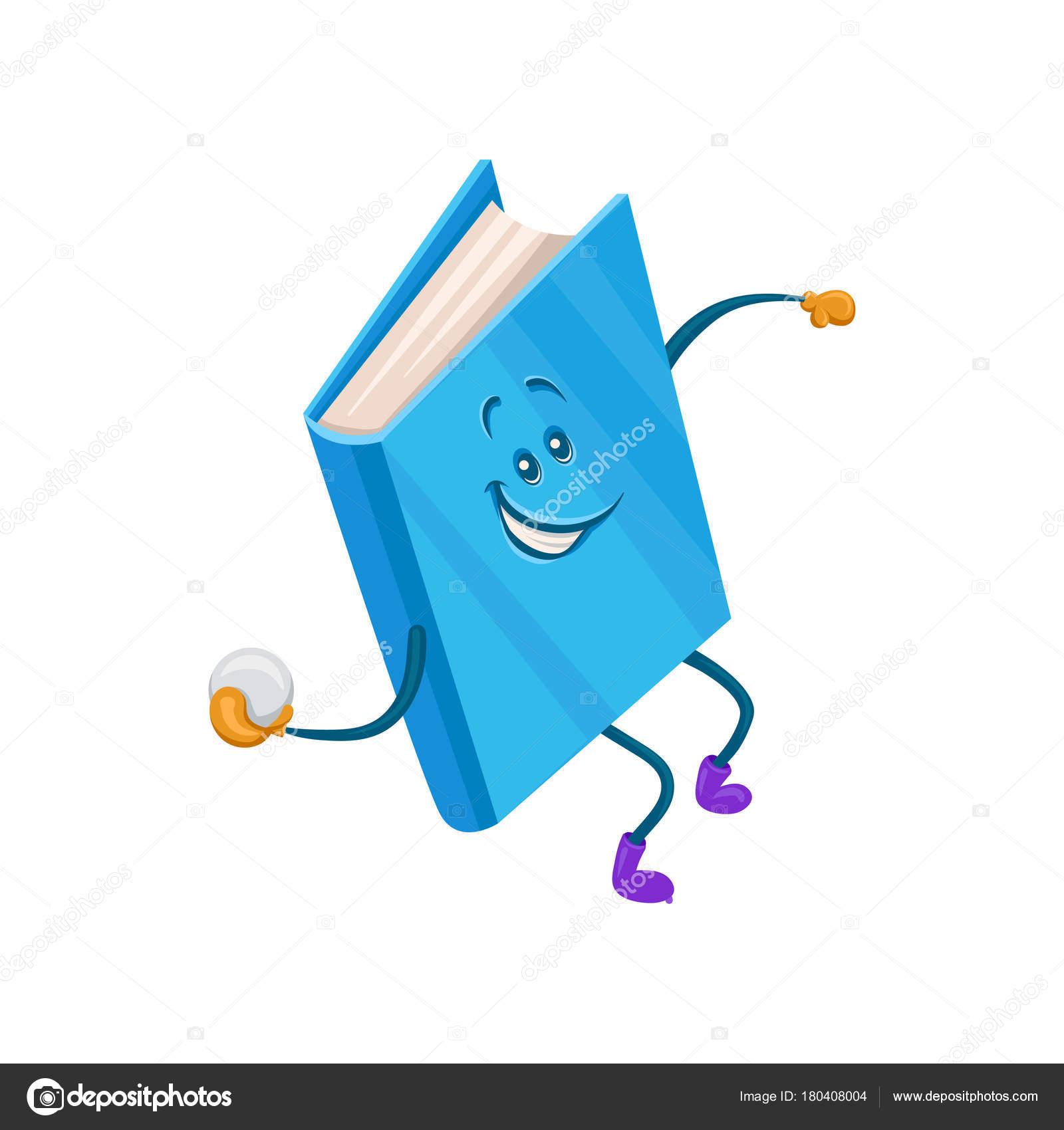 Funny Humanise Livre Bleu Caractere Jetant De Vecteur De