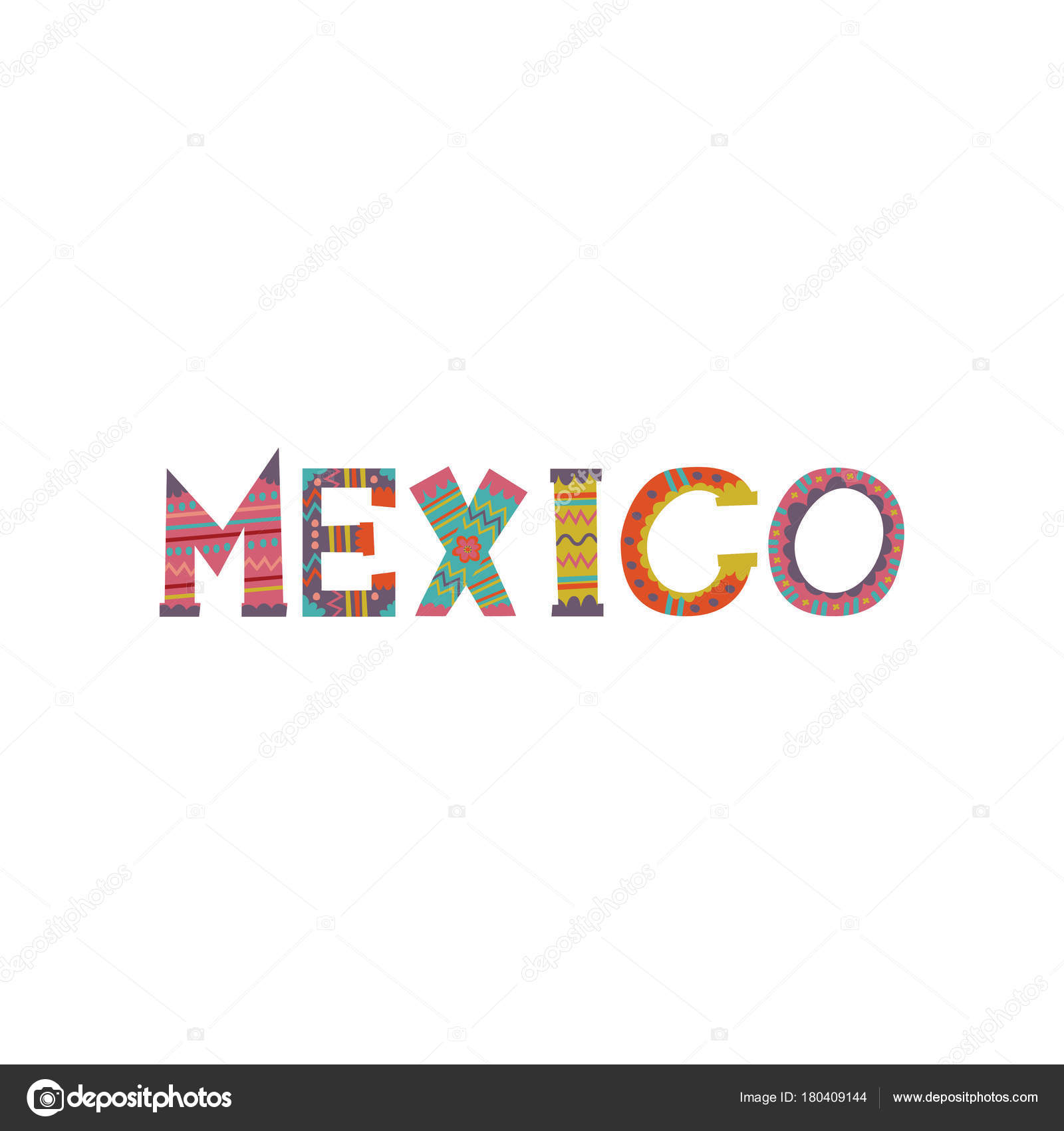 mexico word colorful template design for magazine brochure or booklet cartoon vector illustration - Mexico Brochure Template