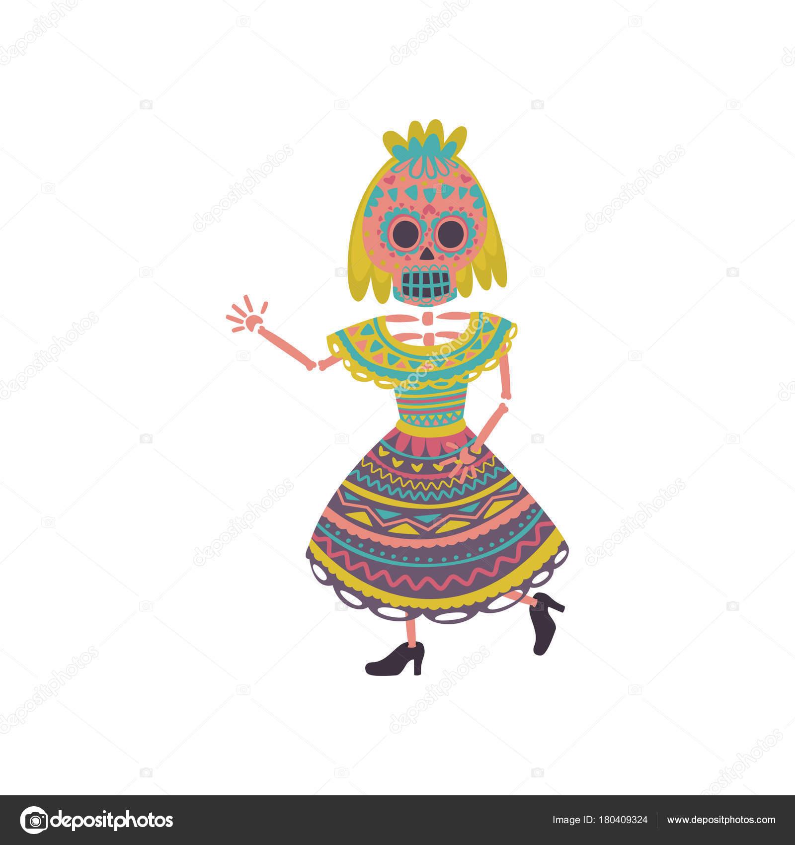 Mujer Con El Maquillaje De Calavera De Azúcar En Un Vestido Mexicano