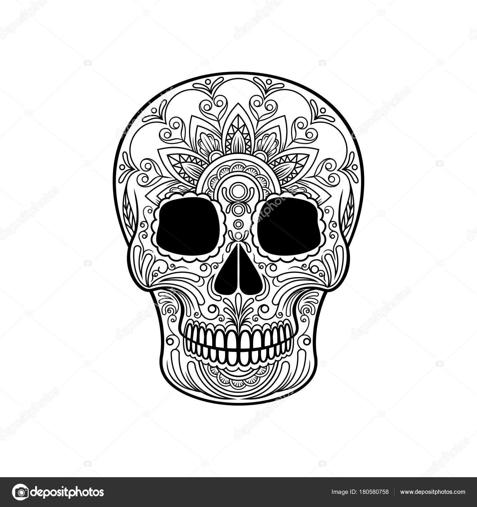 Dibujos Calavera Mexicana Blanco Y Negro Calavera De Azúcar Con
