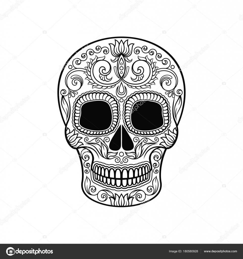 Calavera De Azúcar Mexicana De Flores Dia De Muertos Blanco Y Negro