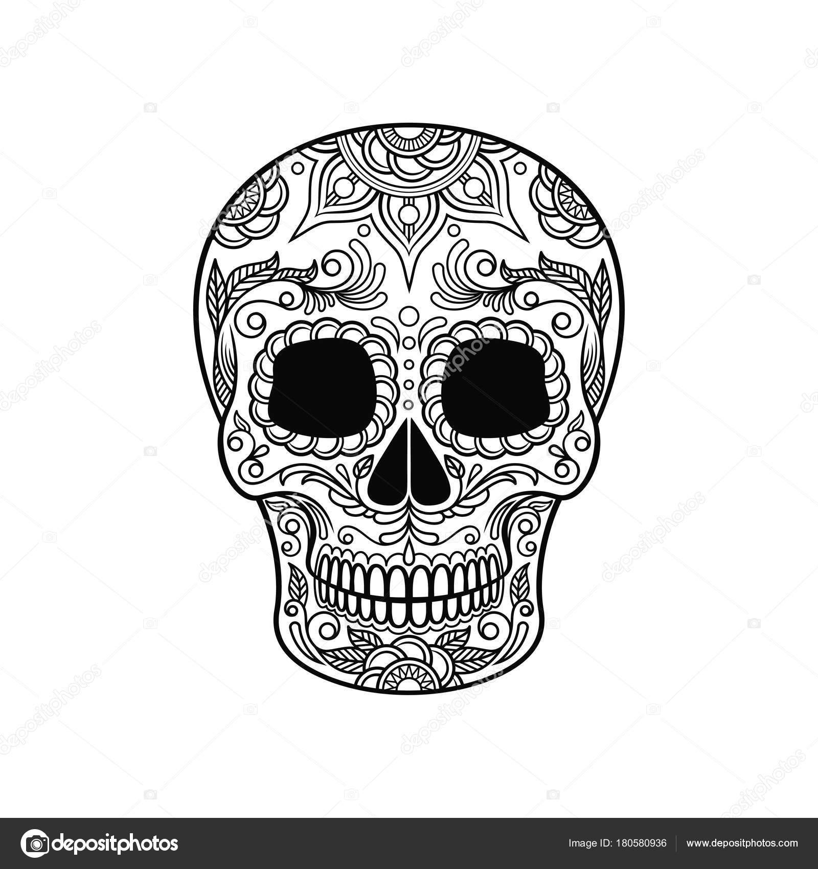 Dibujos Dia De Muertos En Blanco Y Negro Cráneo Del Azúcar De