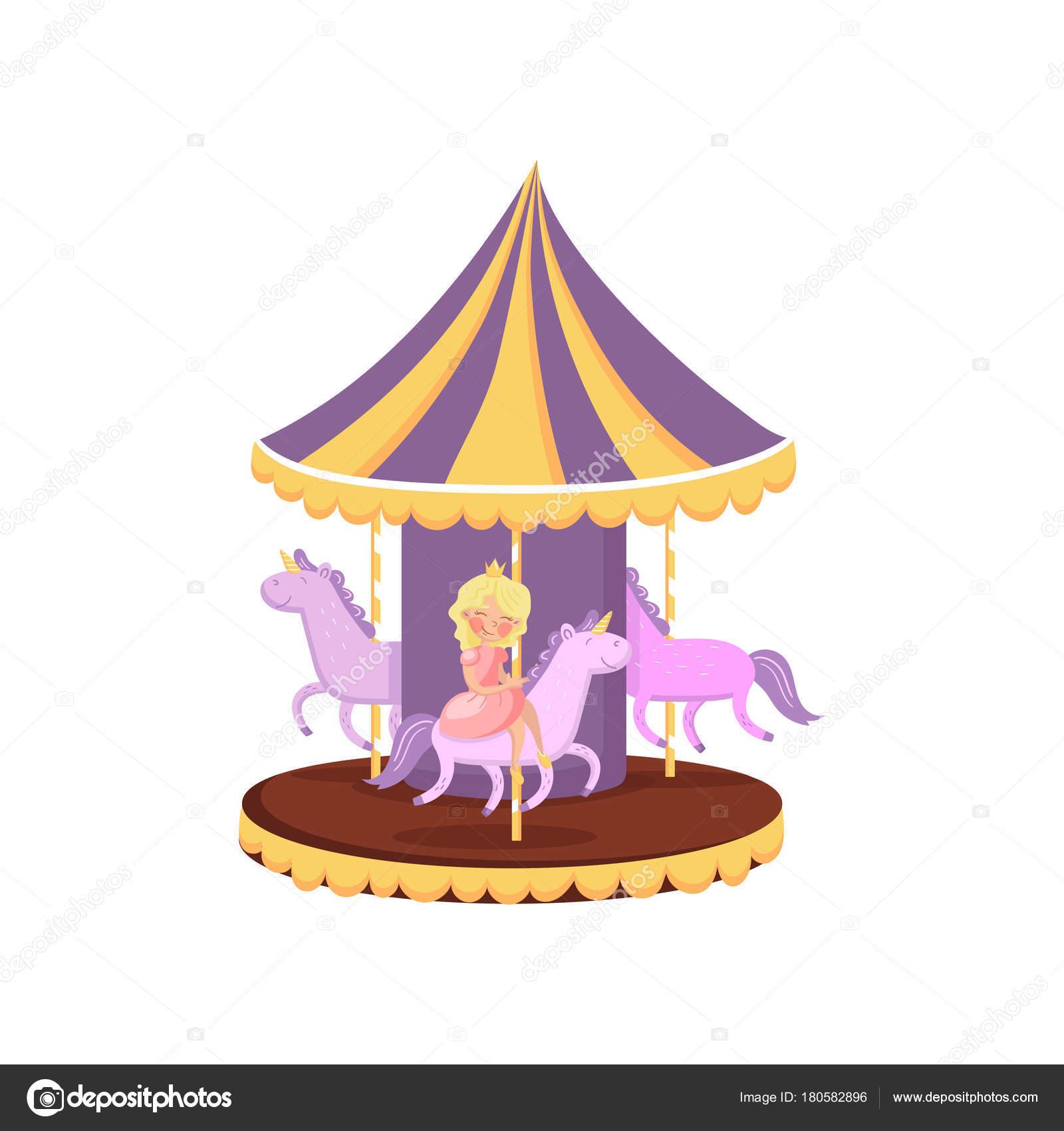 Carrousel Dessin carrousel coloré avec chevaux, merry go round en un vecteur de