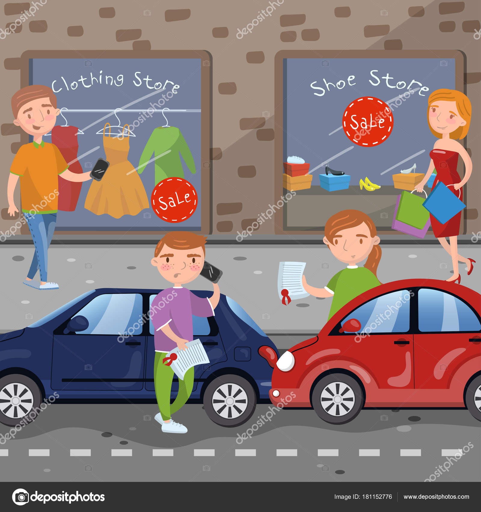 Autounfall auf Stadt-Straße Vektor-Illustration im Cartoon-Stil ...