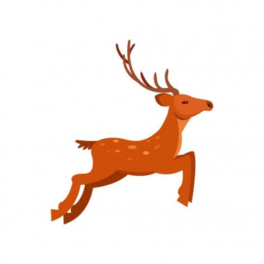 Brown graceful spotted deer with antlers, wild animal cartoon vector Illustration