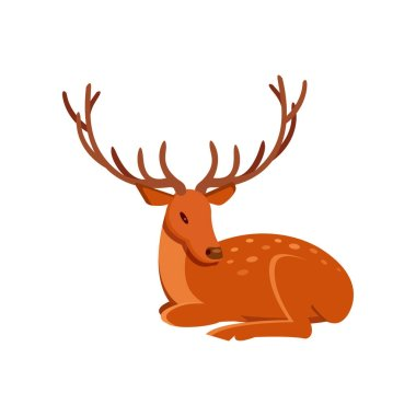 Graceful brown deer with antlers lying, wild animal cartoon vector Illustration