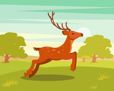 Brown graceful deer with antlers, wild animal amongst a backdrop of green meadow and forest vector Illustration