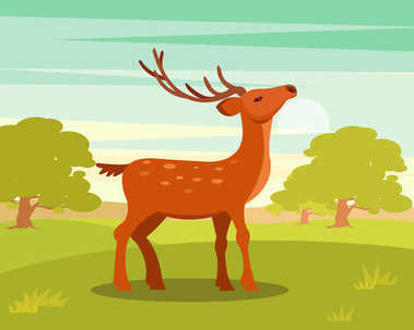 Brown graceful spotted deer with branched horns,, wild animal amongst a backdrop of green meadow and forest vector Illustration
