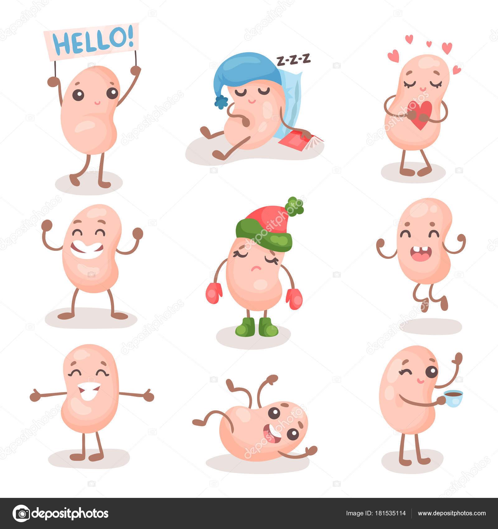 面白い大豆豆文字を設定異なる感情漫画ベクトル イラストを示す人間の