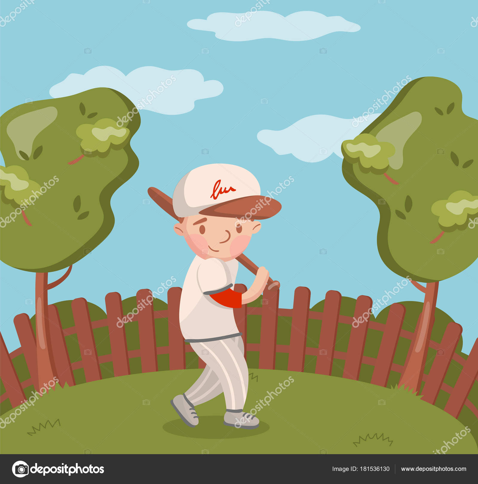 little boy in white uniform playing baseball on summer landscape