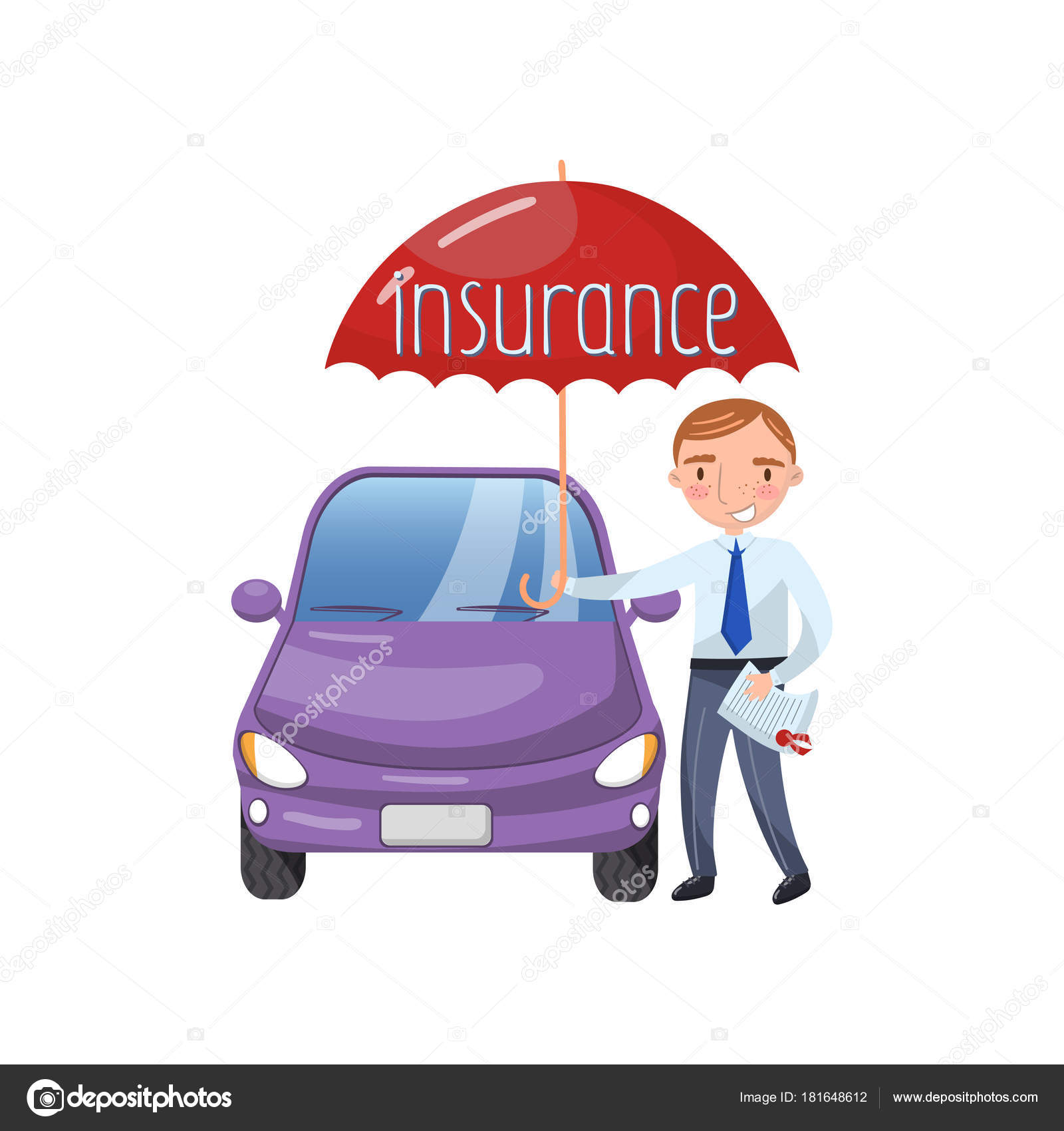 Insurance agent standing with umbrella protecting car, auto ...