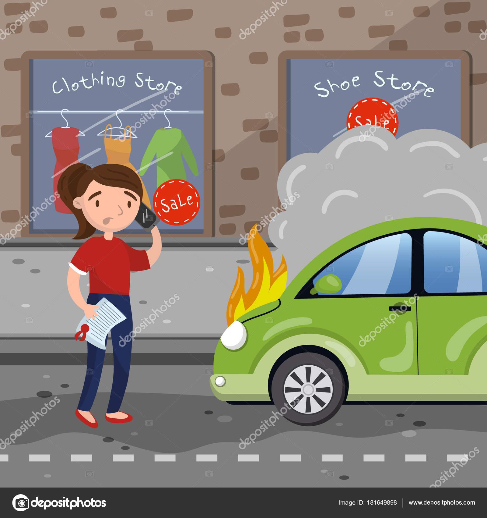 Fahrerin nach Autounfall auf Stadt Straße, Auto Versicherungskonzept ...