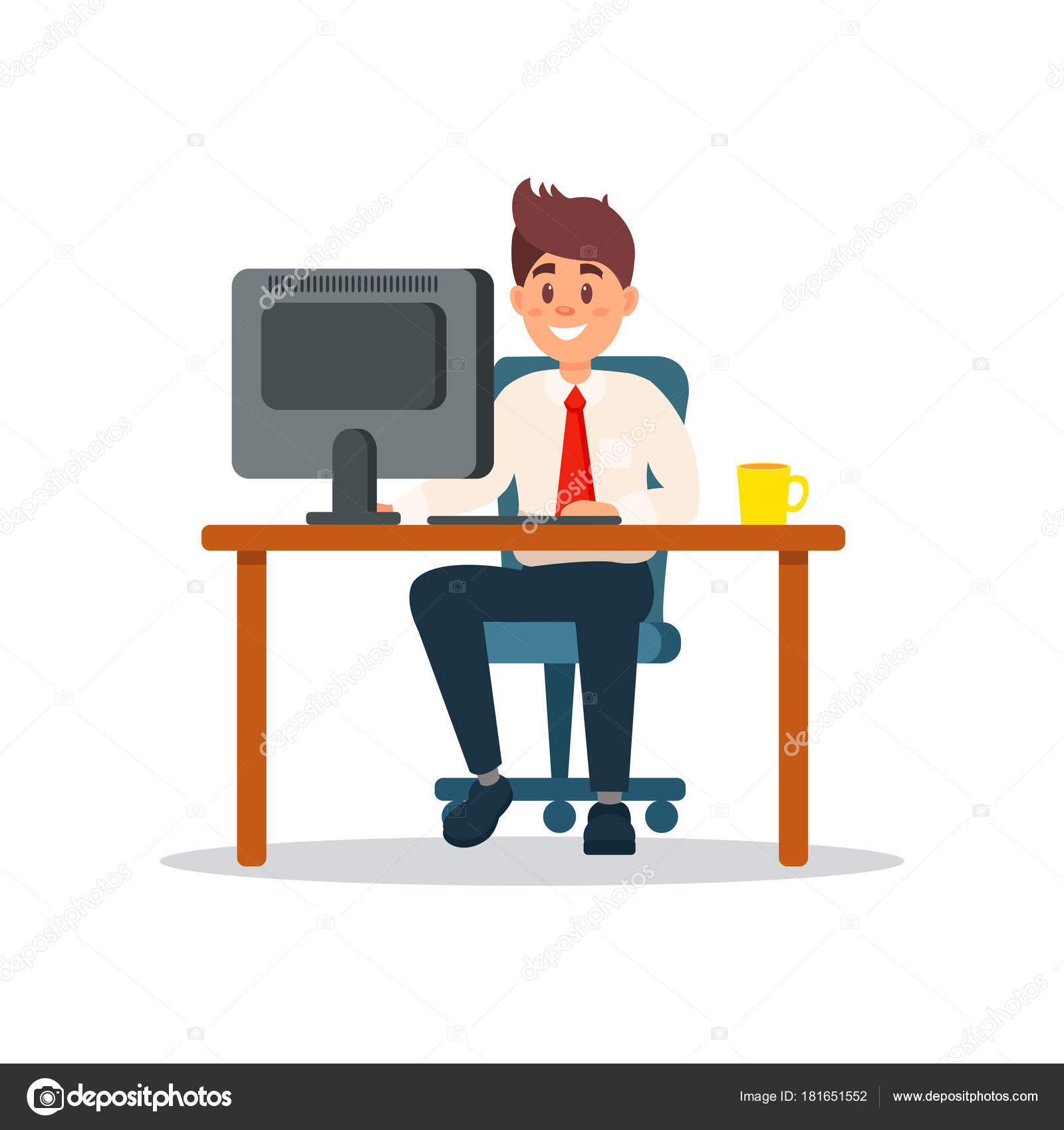 Cartoon Sitting At Computer Smiling Businessman Sitting At The Desk Working With Laptop Computer Business Character Working In Office Cartoon Vector Illustration Stock Vector C Happypictures 181651552