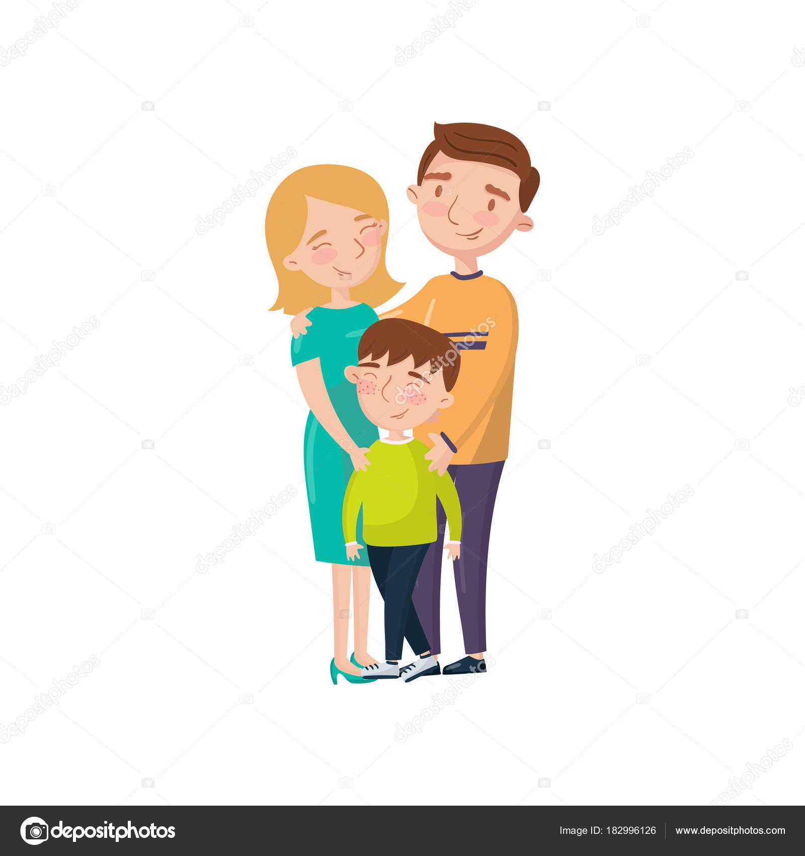 若い幸せなカップルの息子漫画ベクトル図でポーズ — ストックベクター