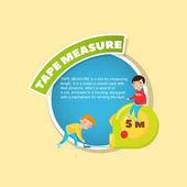 Svinovací metr Popis nástroje, malí chlapci obří měřicí páskou, kreativní plakát s textem vektorové ilustrace