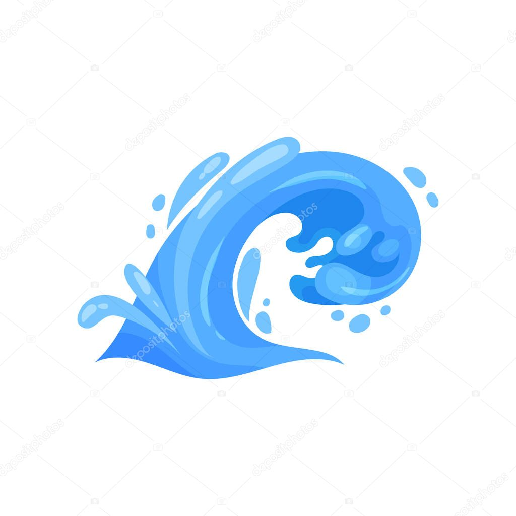Curling wave with crests and curlicues nature, marine and nautical theme vector Illustration