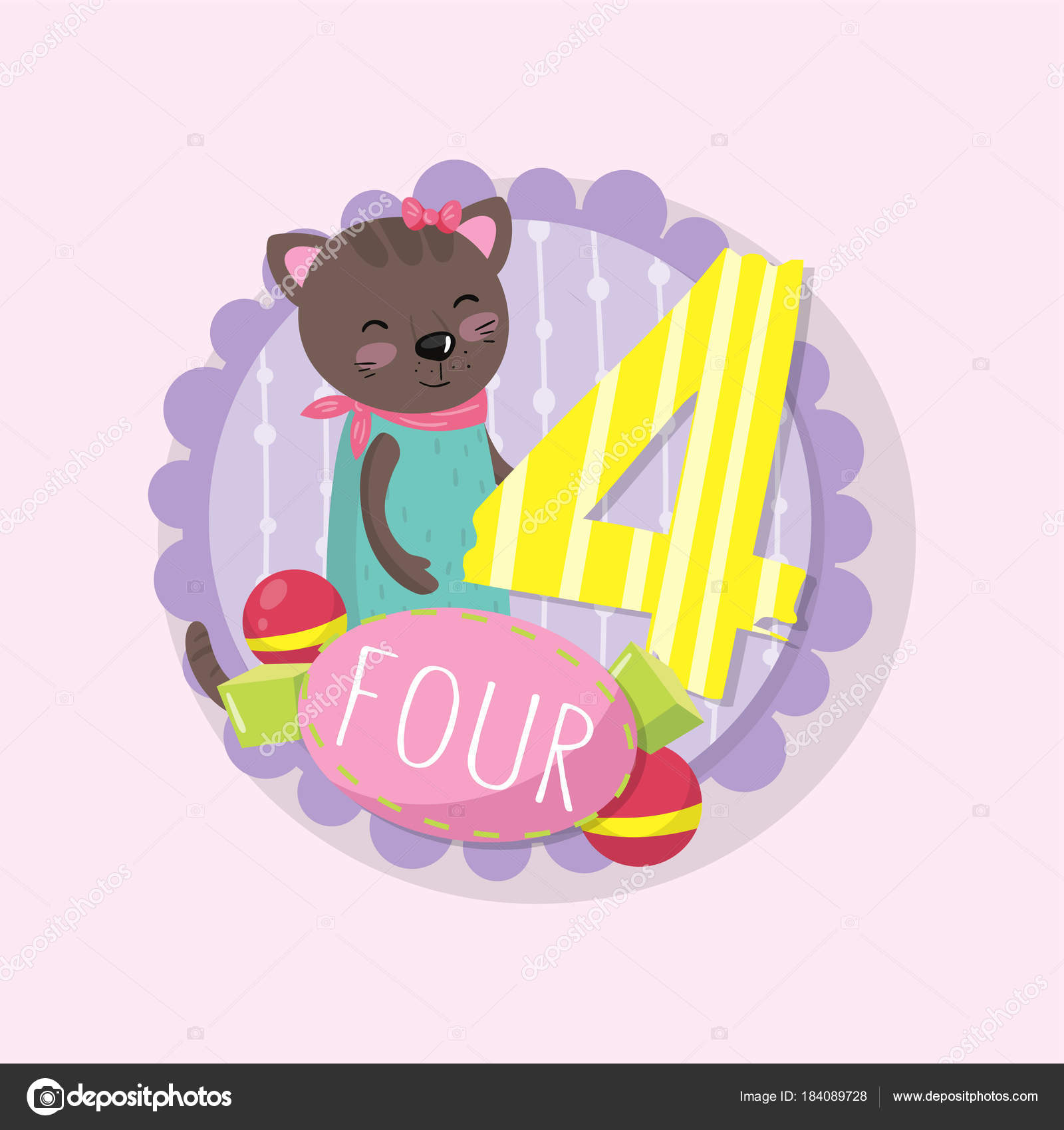 Emblem with adorable kitten and number 4 four . Colorful education ...