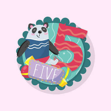 Education children s card with funny panda and number 5 five . Good for beginners in math. Round emblem. Flat vector design for postcard, classroom wall poster or sticker