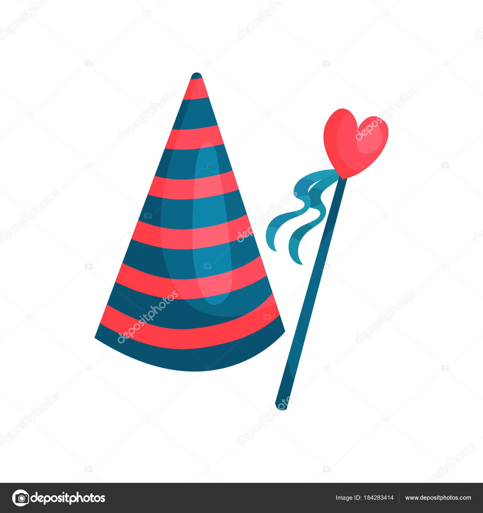 Icona variopinta del cono a strisce cappello e cuore sul bastone con