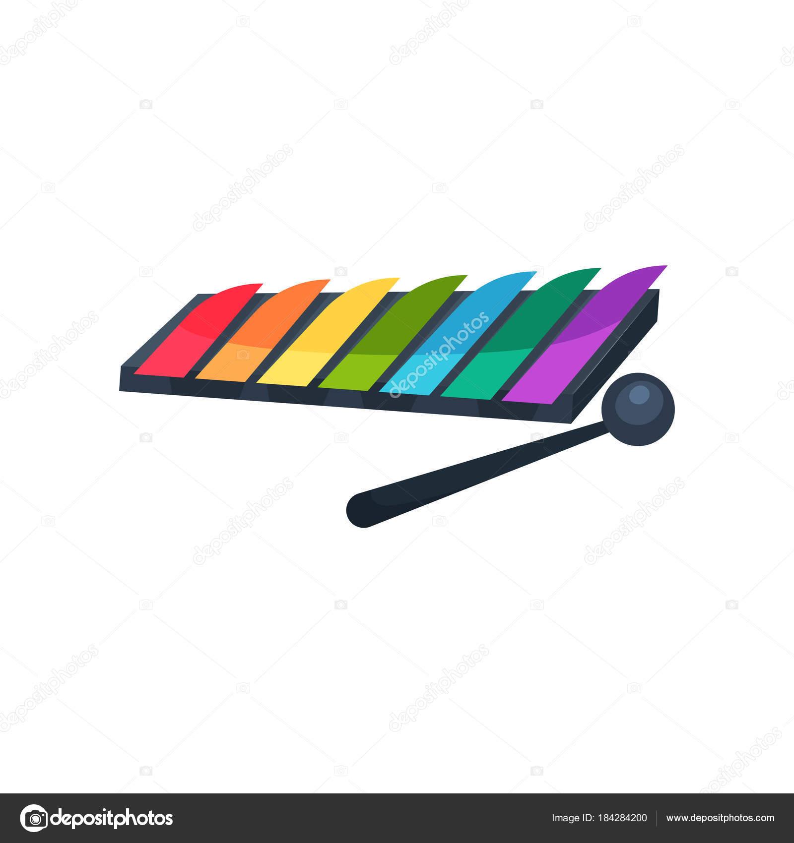 Icone De Dessin Anime De Xylophone Avec Touches Colorees Et Le Baton