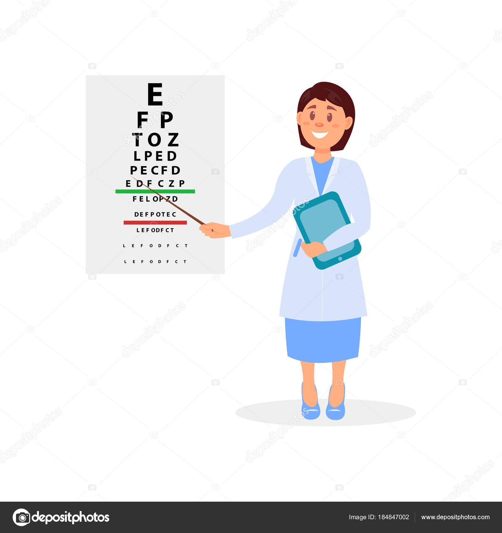 Female ophthalmologist holding digital tablet and pointing at female ophthalmologist holding digital tablet and pointing at letters of eye chart vision test geenschuldenfo Image collections
