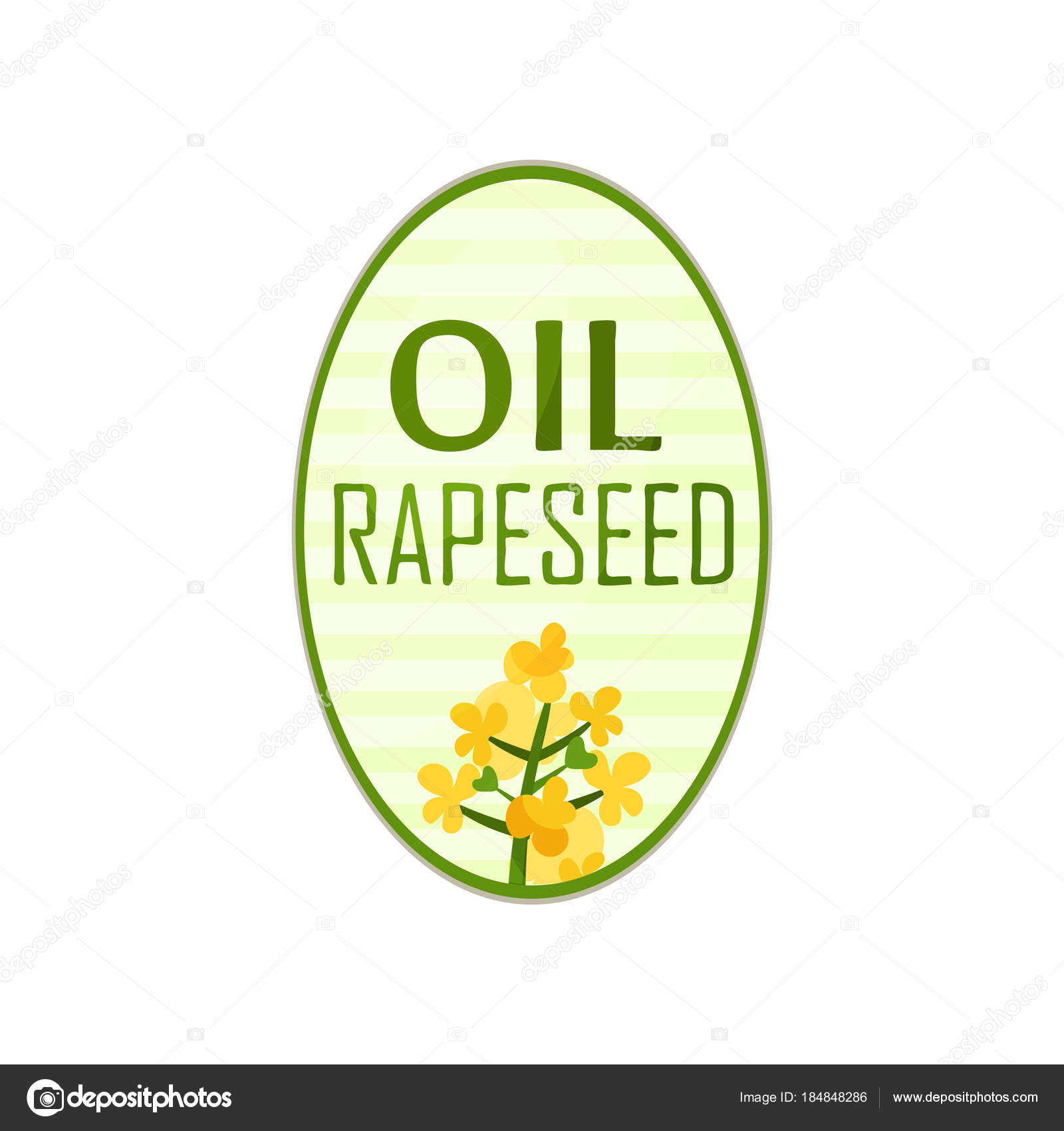 Label for bottle of vegetable oil in oval shape with text