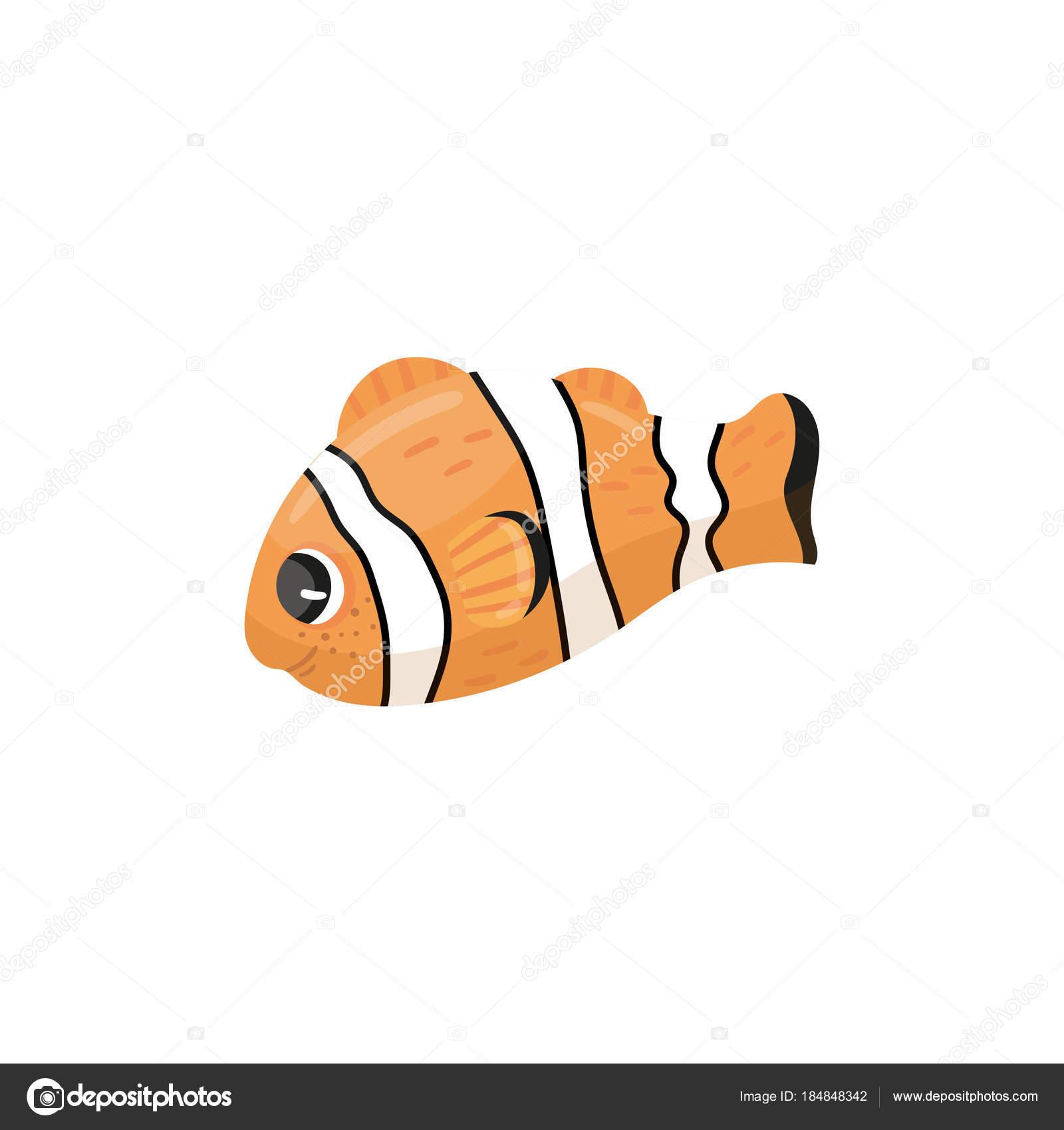 Cartoon Charakter der Clownfische. Anemonenfisch in orange, schwarz ...