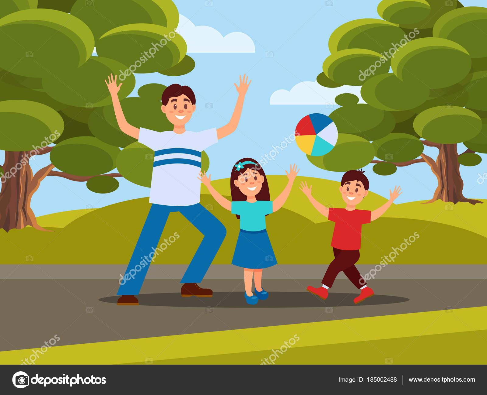 Padre Con I Suoi Bambini Che Giocano A Palla Ricreazione Della