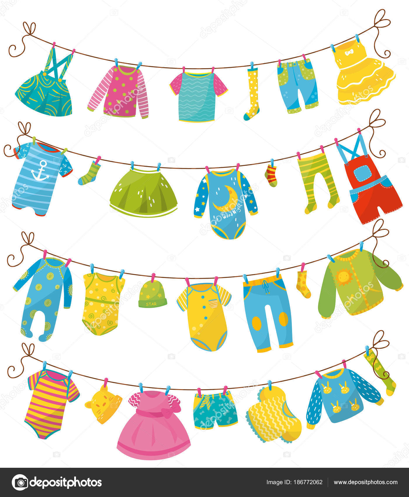 Flat vector set of kids clothes on rope Apparel for newborn boy or