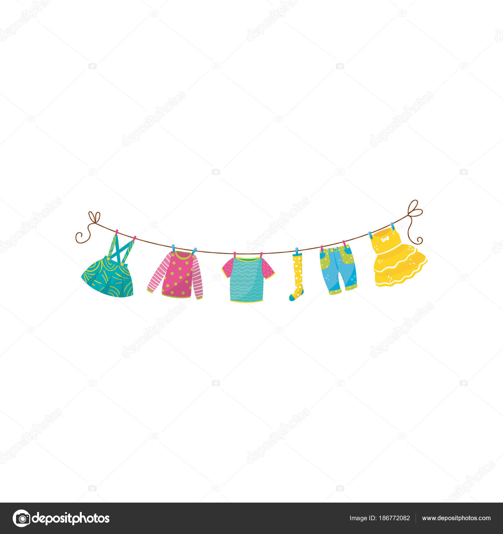 Flat vector set of children s clothes on rope skirt with ...