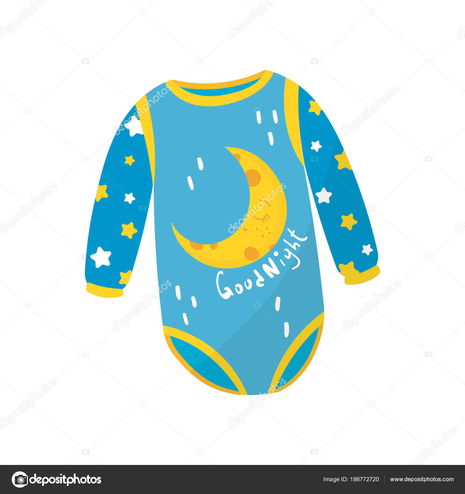 d1503d93e48c Cartoon icon of blue baby bodysuit with long sleeves and crescent ...