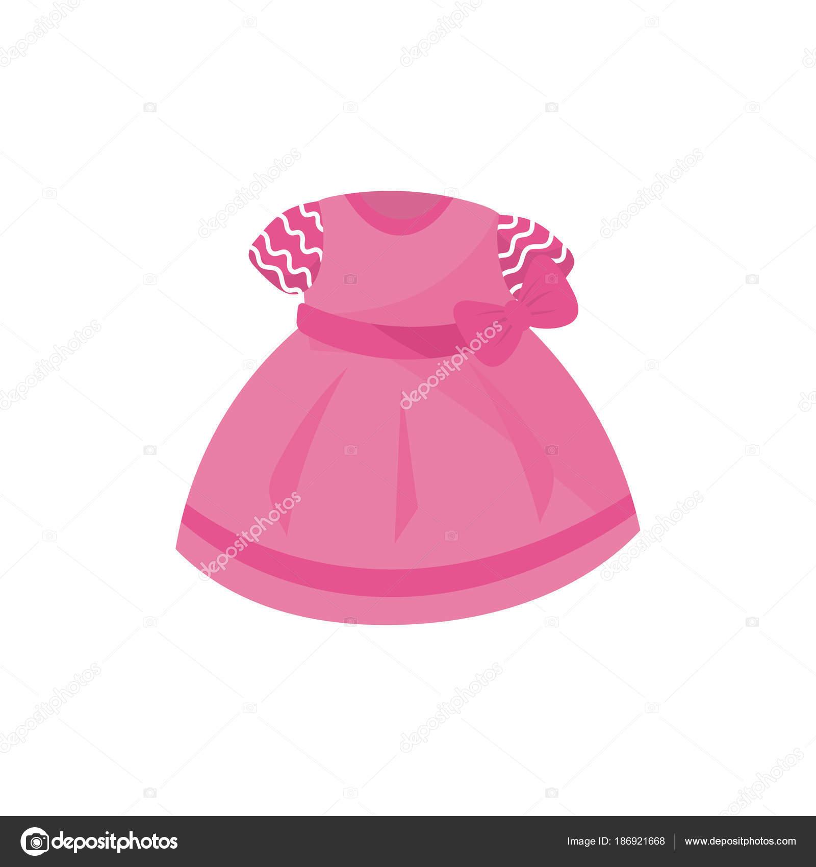 Icono de adorable vestido rosa con moño para niña. Moda bebé. Ropa ...
