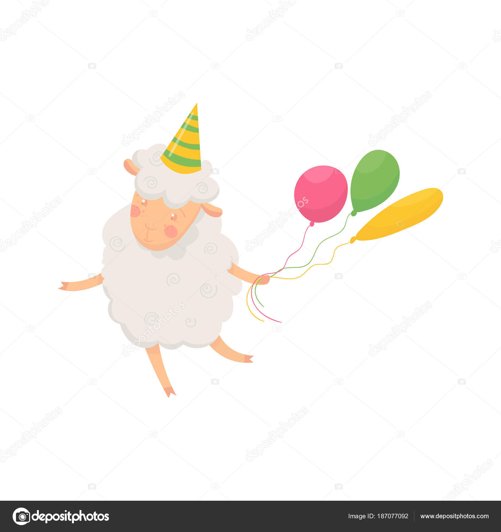 Happy Fluffy Sheep With Party Hat On Head Holding Colorful Balloons Cartoon Character Of Funny