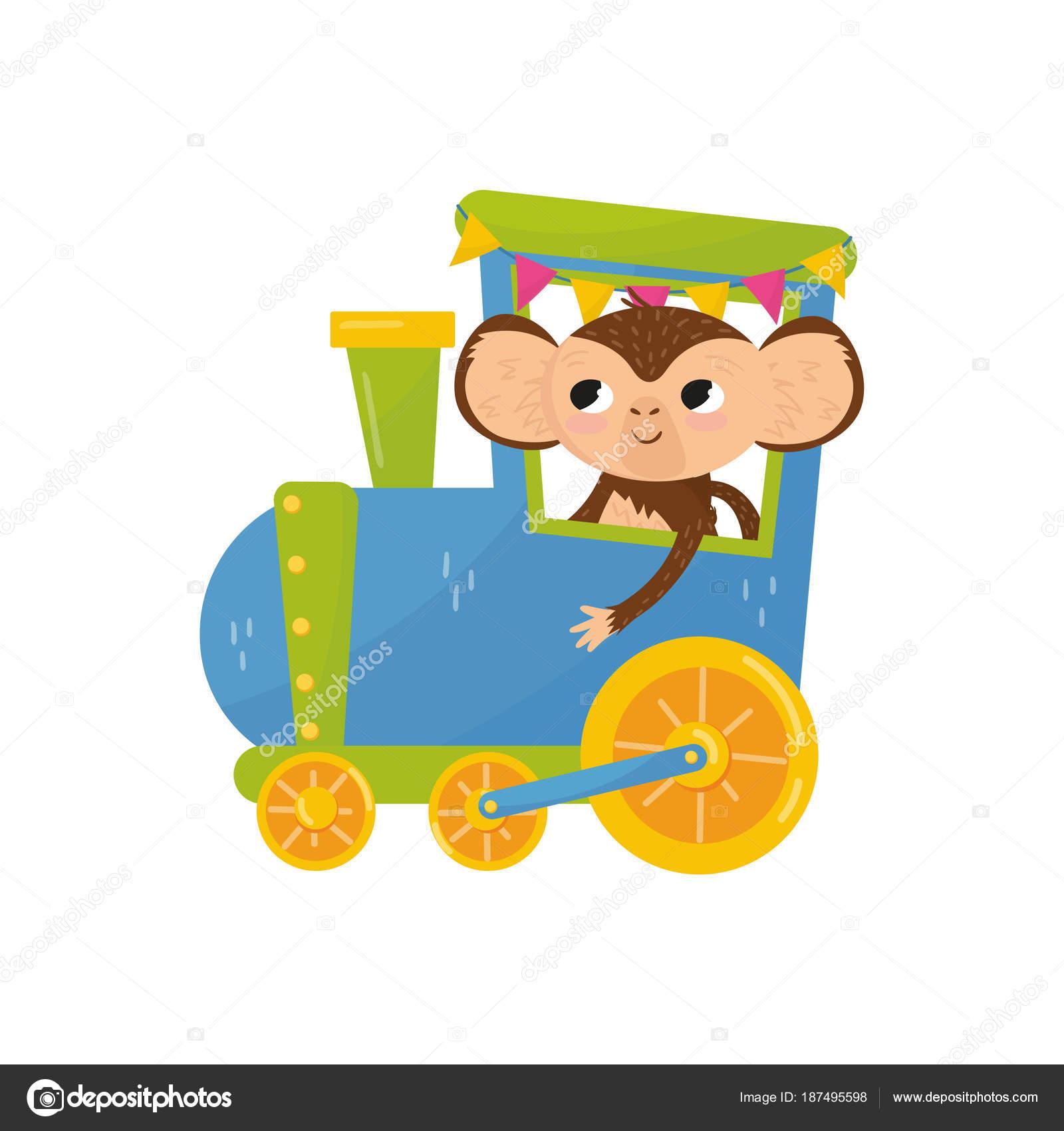 Disegni Di Scimmie Colorate Scimmia Tropicale Divertente Sul Treno