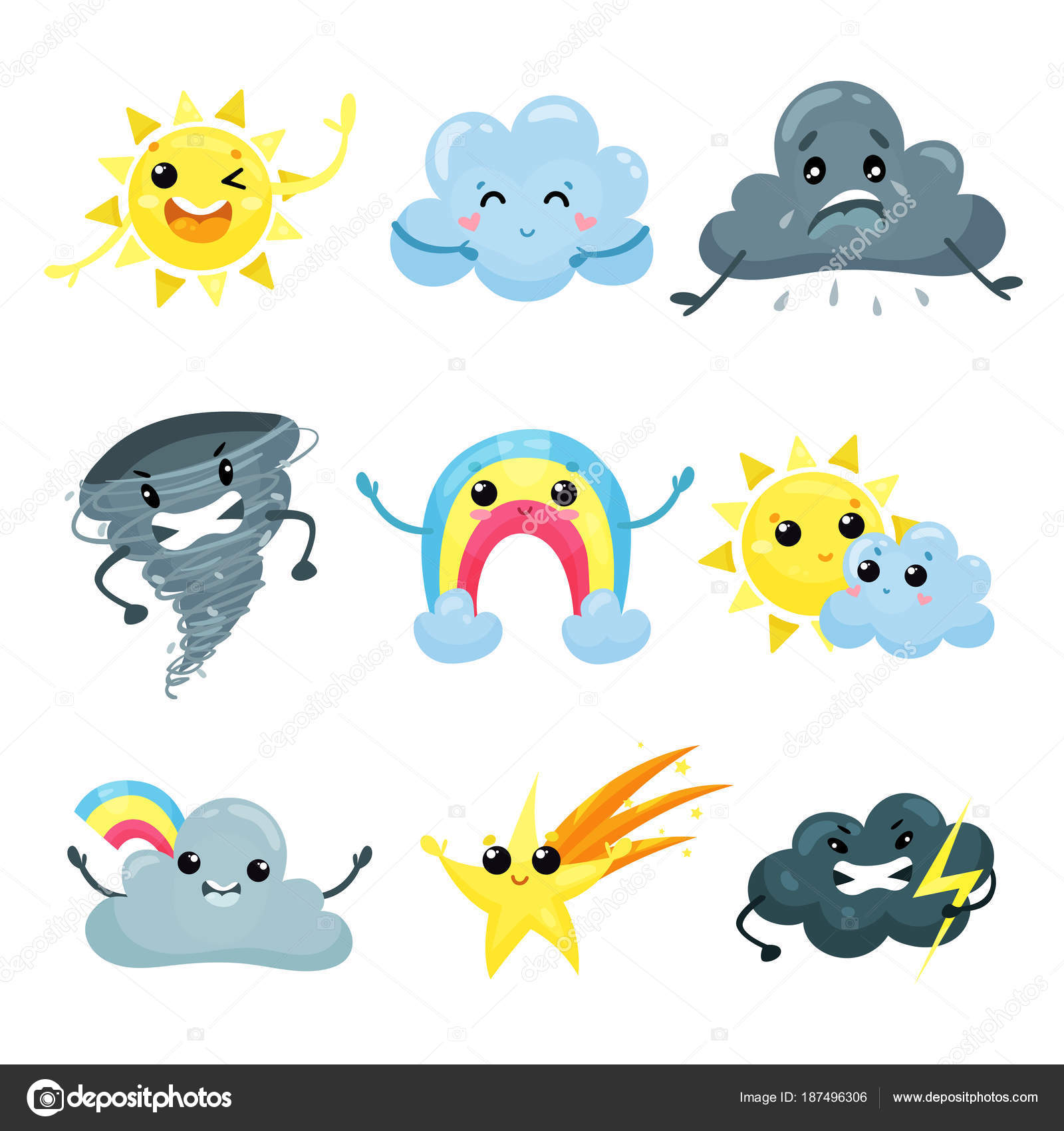 Set of weather forecast icons with funny faces  Cartoon sun