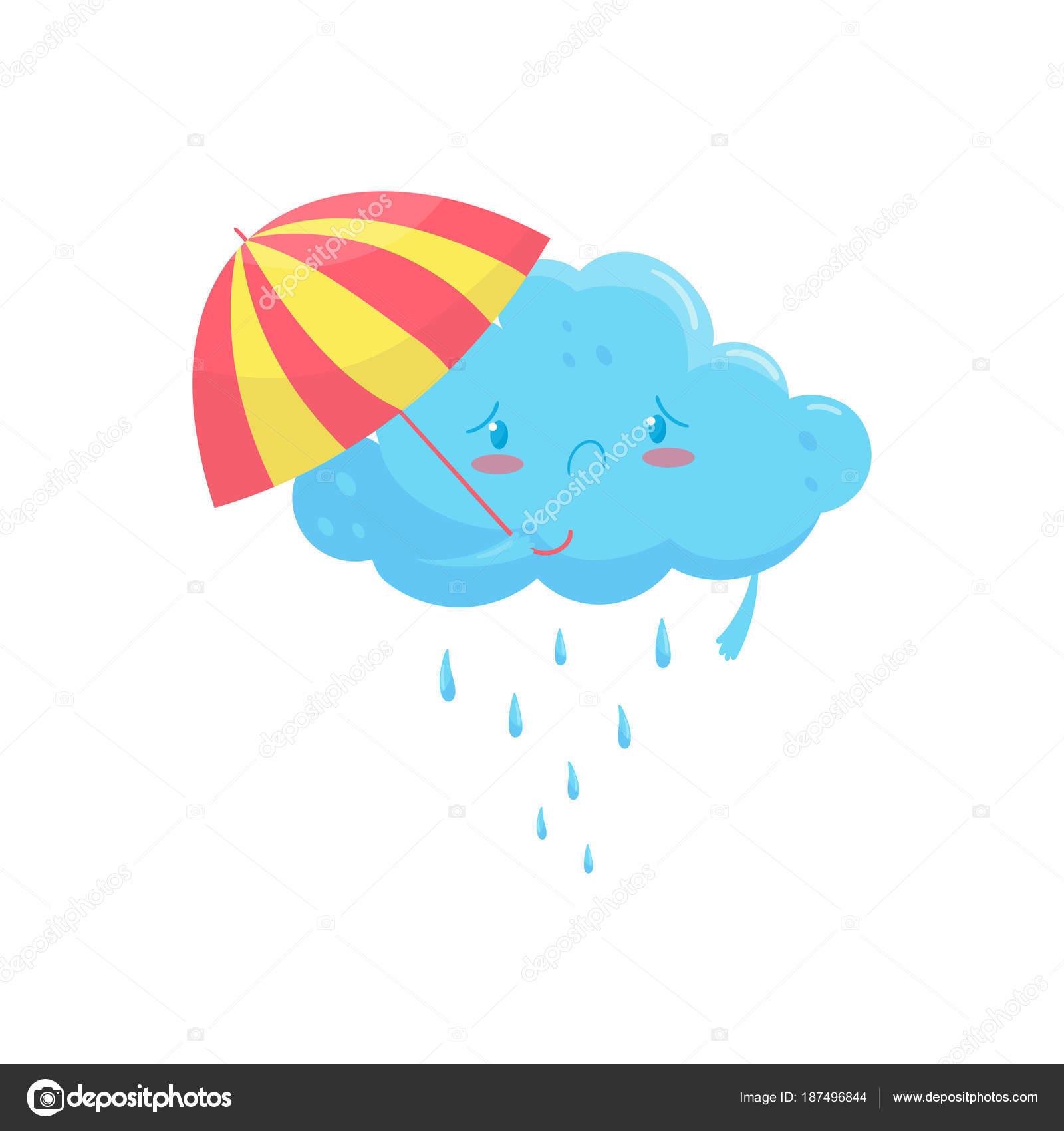 Nuage Bleu Avec Parasol Colore Et La Pluie Tombe Emotion