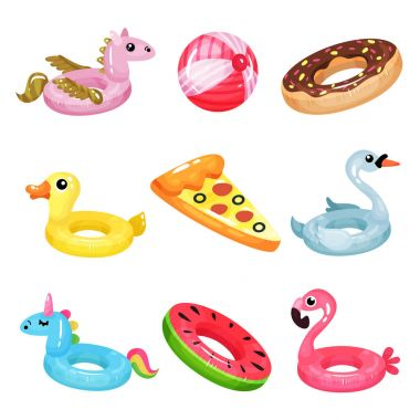 Flat vector set of inflatable swimming accessories. Rubber ball. Rings in various shapes pegasus, donut, swan, duck, unicorn, flamingo, watermelon. Air mattress in form of pizza slice