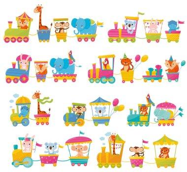 Cartoon set with different animals on trains. Fox, giraffe, monkey, elephant, koala, bunny, tiger, behemoth, parrot. Flat vector elements for postcard, book or print