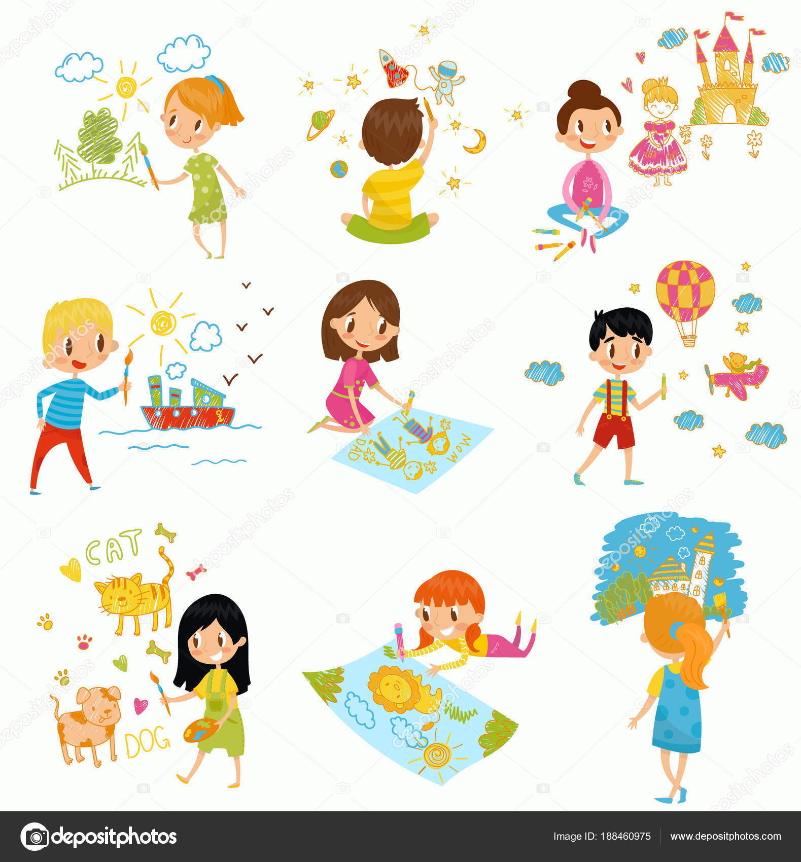 Cute little boys and girls drawing with color paints and pencils set young artists kids activity routine vector illustrations isolated on a white