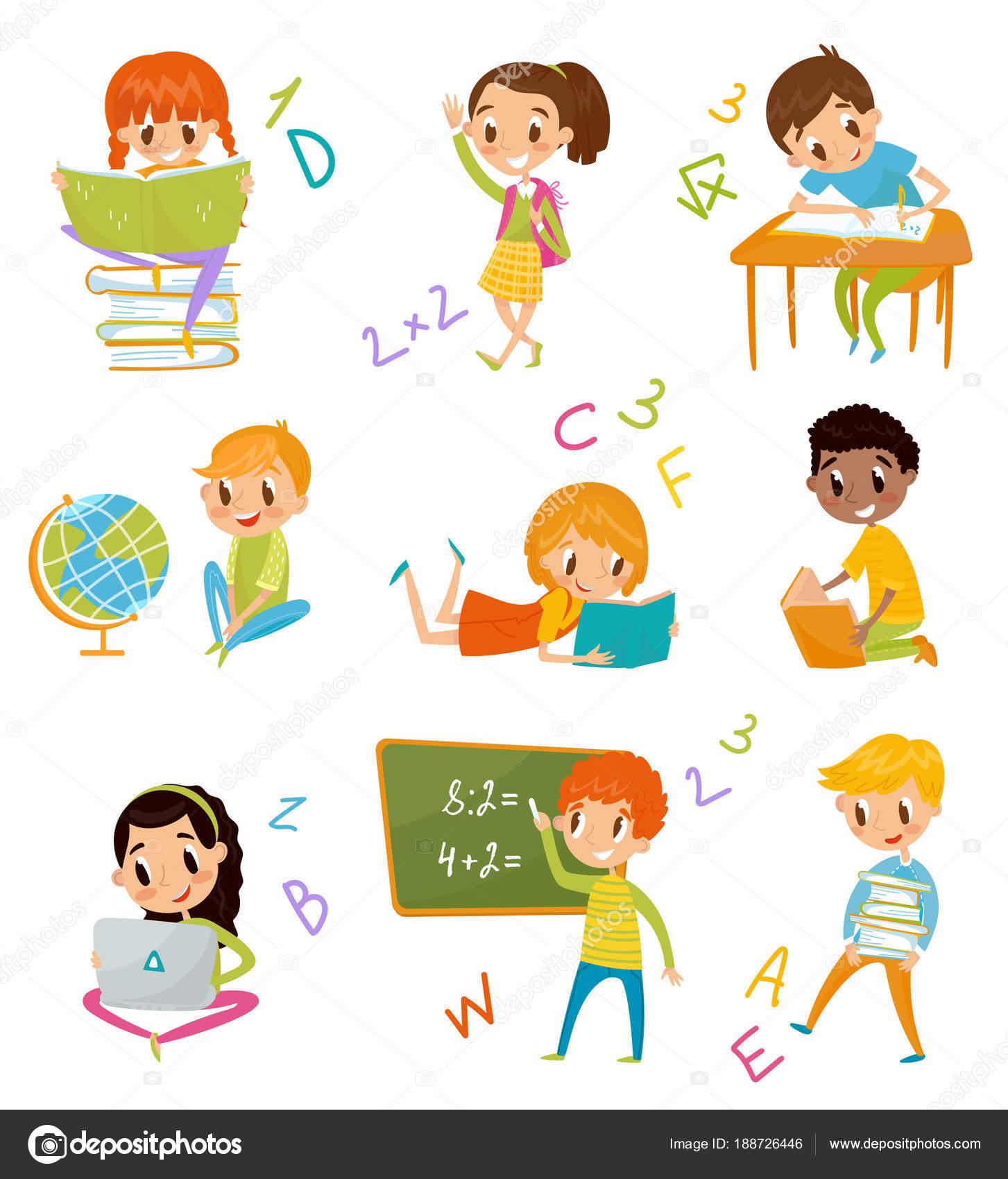 Kinder in der Schule festgelegt, süße Jungs und Mädchen in der ...
