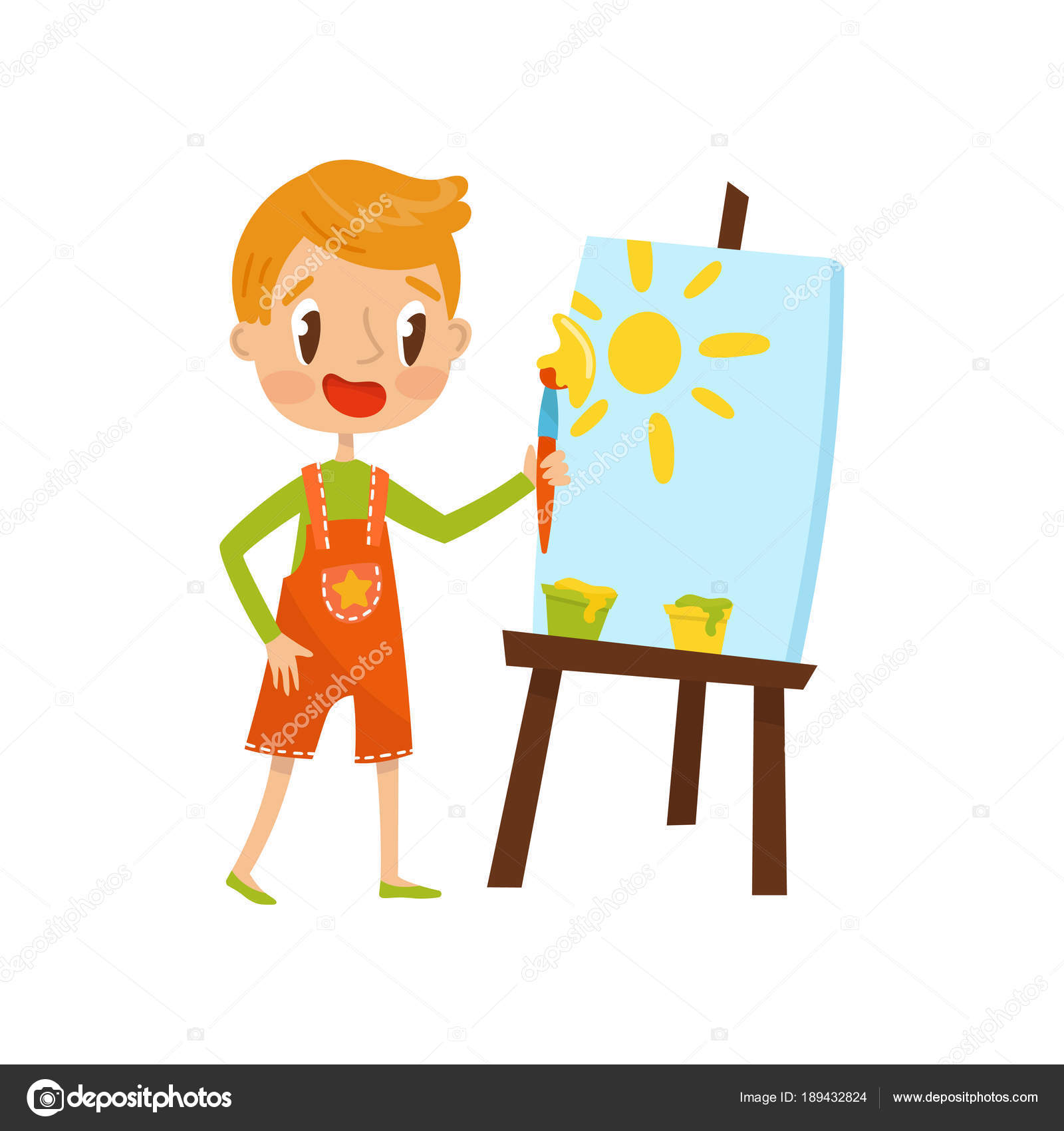Sevimli Küçük çocuk Boyama Güneş Bir şövale çocukların Yaratıcılık