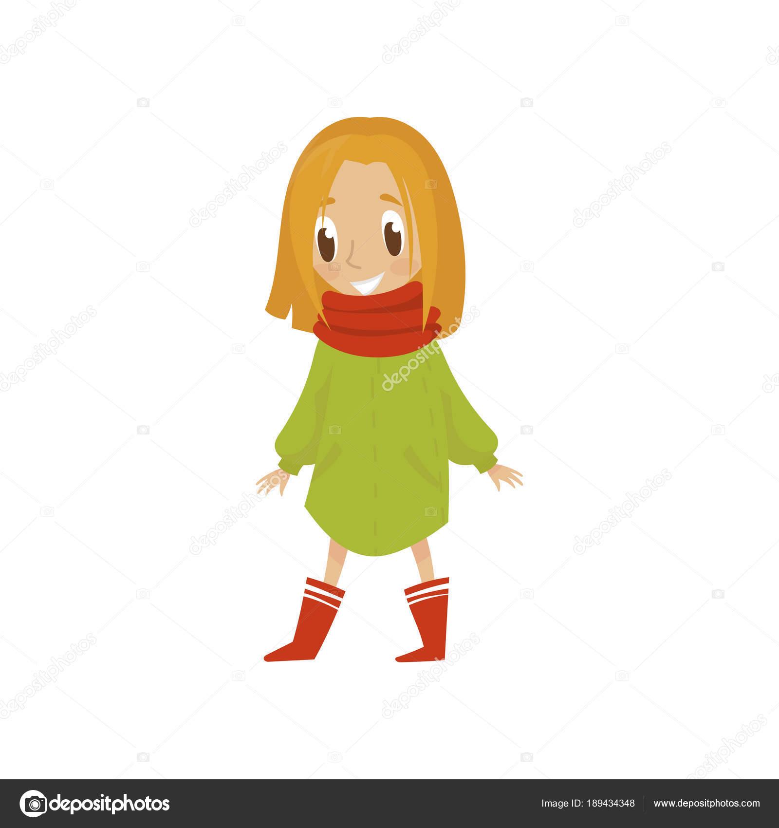 Carattere della ragazza dolce del fumetto in cappotto verde e sciarpa  rossa 1586eb1ff45