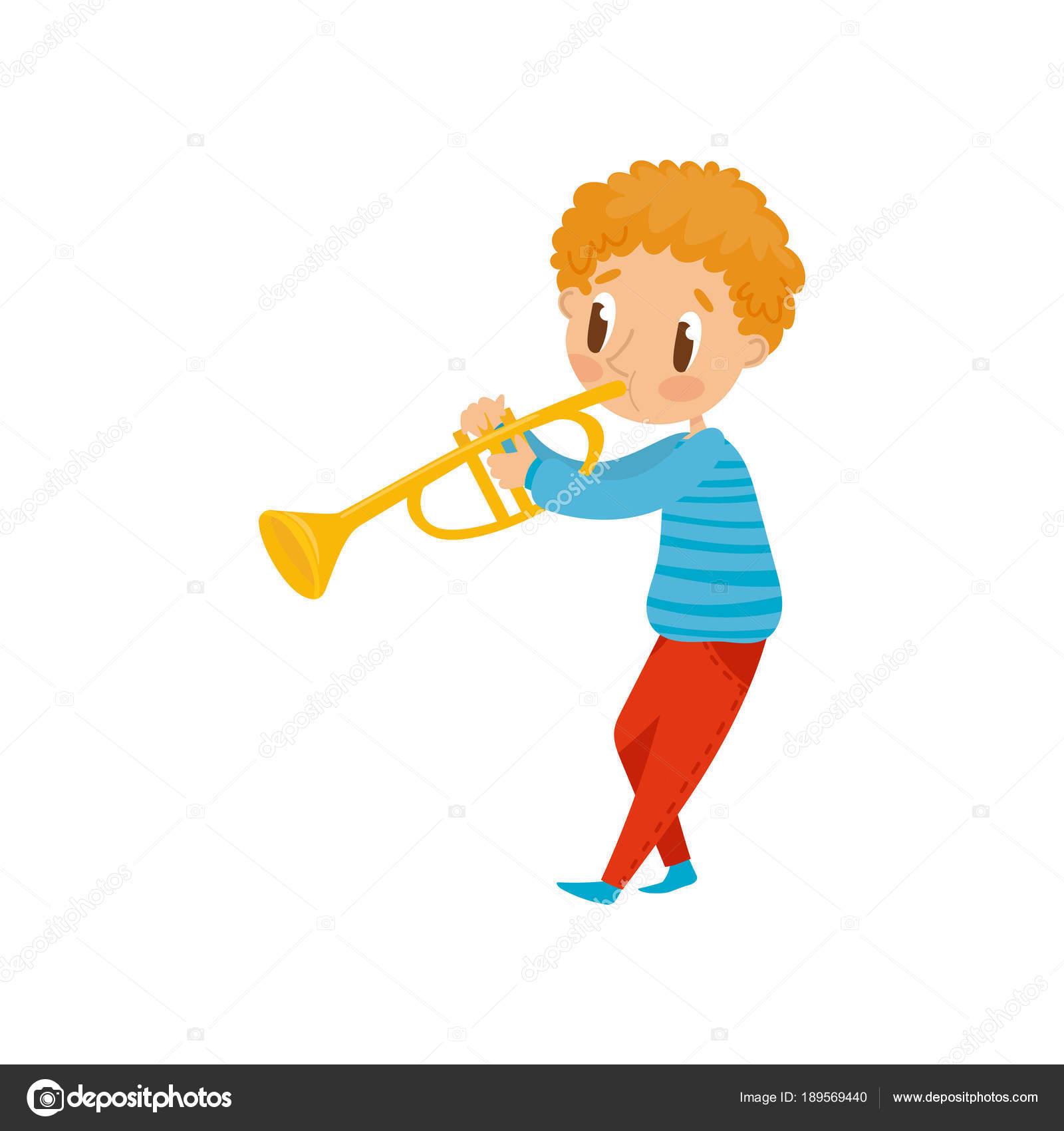かわいい男の子の楽器漫画ベクトル イラスト白い背景の上に小さな音楽家