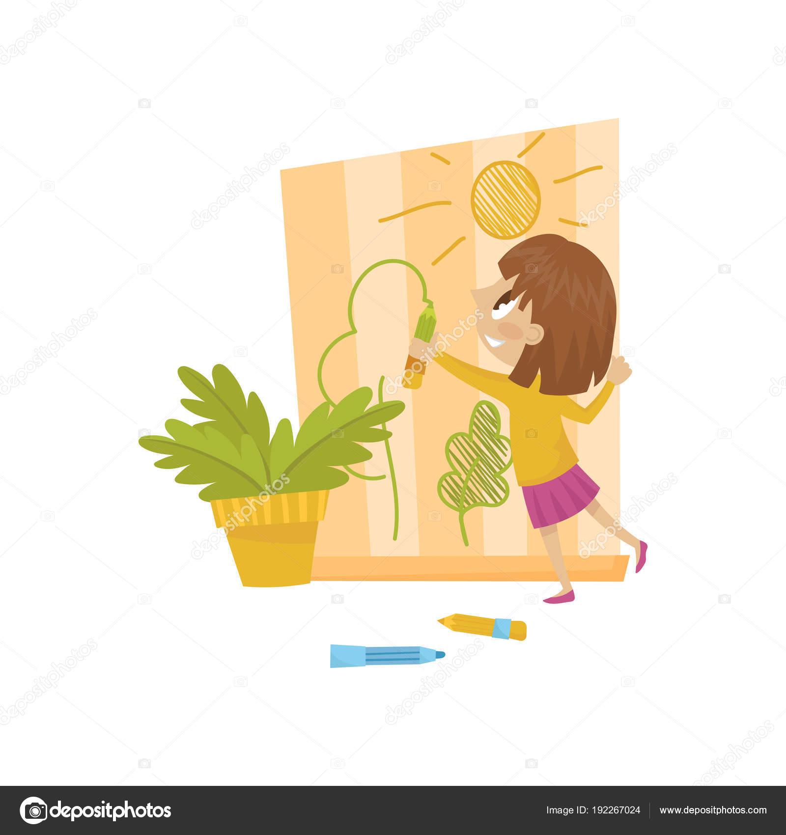 Cute little girl drawing on the wall, hoodlum cheerful kid, bad ...